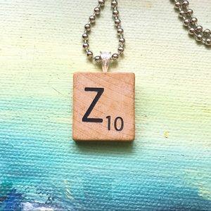"""1953 """"Z"""" Scrabble® Tile Initial Pendant Necklace"""